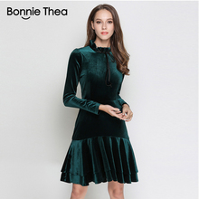 Bonnie Thea women Winter Velvet dress femme green long Sleeve elegant evening party 2018 womens clothes vestidos