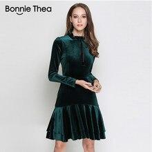 c6b6af809643 Bonnie Thea donne di Inverno del Velluto del vestito femme verde a Maniche  lunghe elegante vestito da partito di sera del vestit.