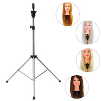 1pcs Adjustable Wig Tripod Stand Salon Hair Cosmetology Mannequin Training Head Holder Hairdressing Clamp Hairstyling Accessory