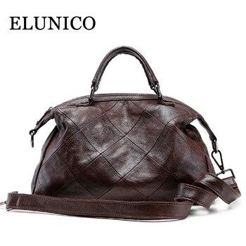 ELUNICO 2019 New Luxury Handbags Women Bags Designer Totes Genuine Leather Handbag Female Large Capacity Messenger Shoulder Bag