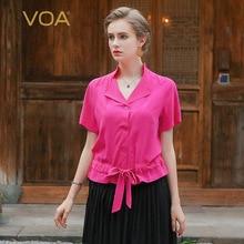 VOA European fashion sashes Silk crepe shirts Stand Collar Short Sleeve Women blouse B6100