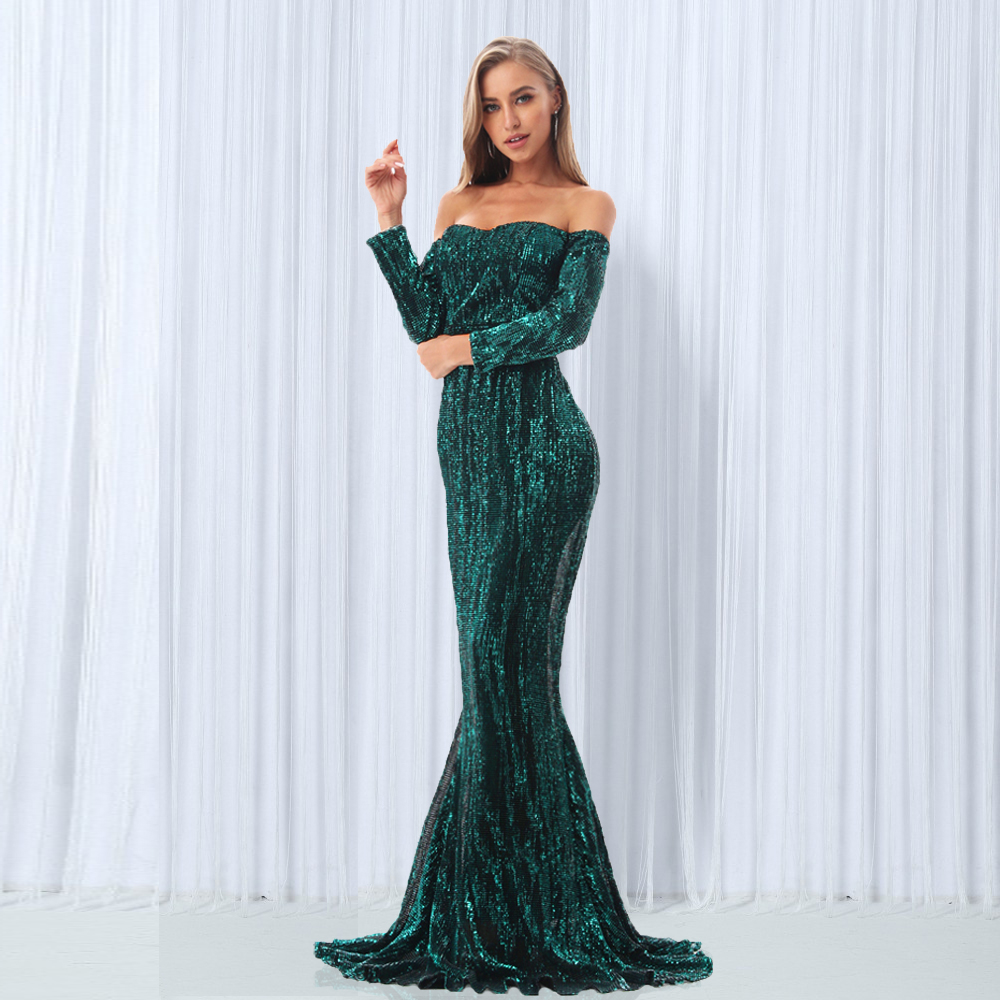 Elegante vestido Maxi de hombro verde con lentejuelas azul marino vestido de fiesta de lentejuelas elástico hasta el suelo ceñido al cuerpo vestidos de fiesta-in Vestidos from Ropa de mujer    1