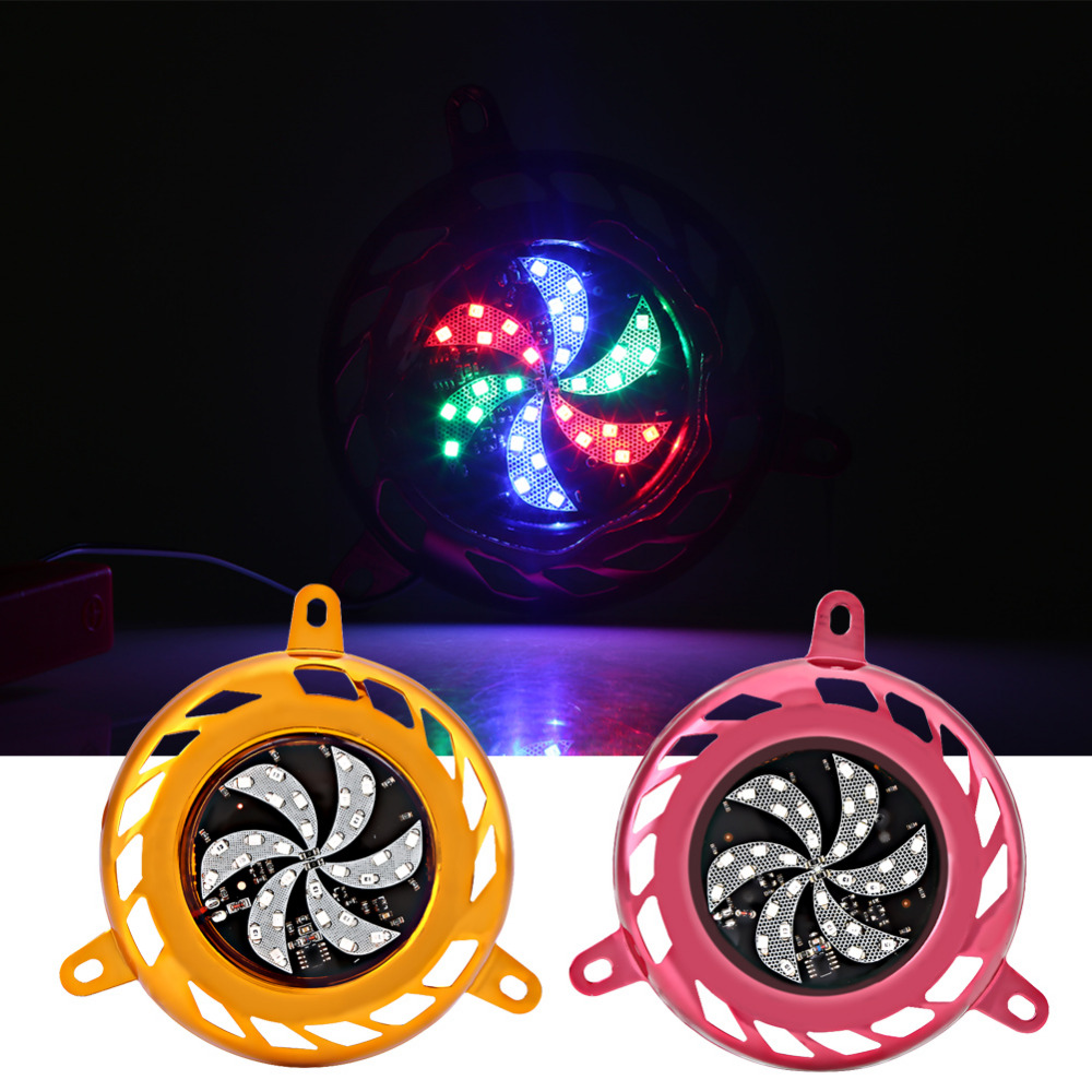 30 LED Aluminum Fan Cover with Decoration Flashing Light for GY6 100/125/150cc Motorcycle