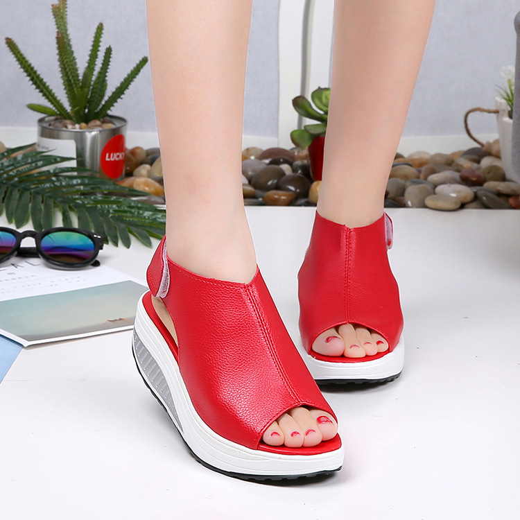 New Fashion Women Summer Female Sandals Vintage Wedges Platform Shoes Peep Toe Sandal High Heels Fish Toe Shoes Zapatos Mujer women shoes pumps 2016 spring and summer new patent leather bow peep toe women sandals platform high heels shoes zapatos mujer