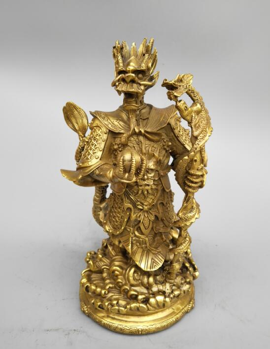 China s Seiko carving pure brass east sea dragon king statue