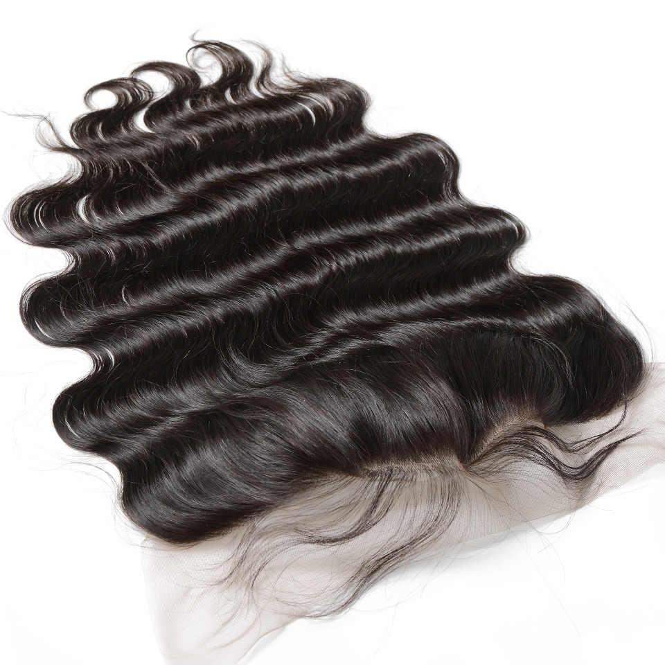 Luvin 28 30 40 Inç Brezilyalı Saç Örgü 3 4 Demetleri Ile 13x4 Dantel Frontal Kapatma Remy Vücut dalga % 100% Insan Saçı Çift Çekilmiş