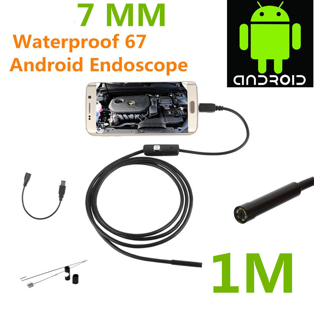 Endoscope Borescope USB Android Inspection Camera HD 6 LED 7mm Lens 720P Waterproof Car Endoscopio Tube mini Camera 1M Length android usb endoscope 6 led 7mm lens waterproof inspection borescope tube camera with 2m cable mirror hook magnet