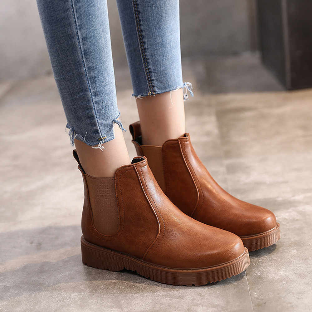 Martin Short Boots Women Leather Solid Color Casual Flat Round Toe European Style Autumn Winter Shoes Women Botines Mujer 2019
