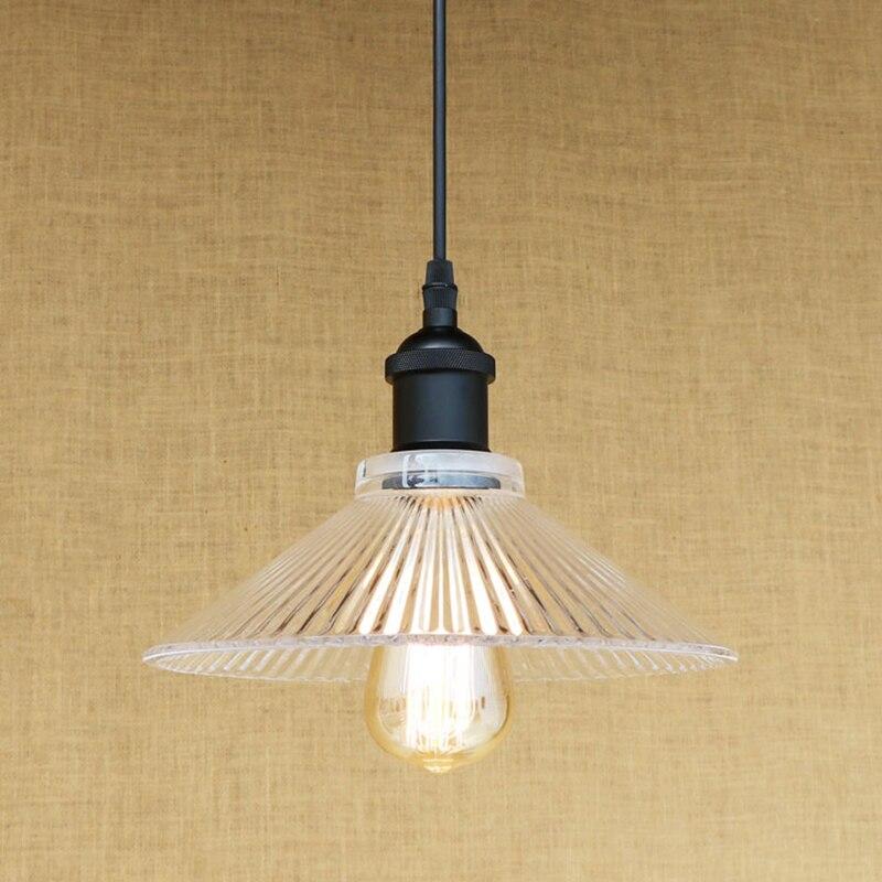 Modern Retro clean glass shade pendant lamp Indoor Lighting E27 livingroom lights LED Edison bulb 220v for dinningroom bar
