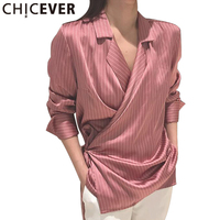 CHICEVER 2017 Summer Women Lace Up Striped Shirts Blouses Female Sexy Deep V Neck Tops Bowknot