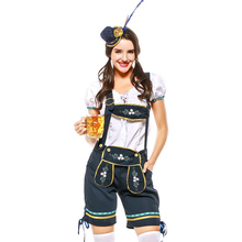 Ladies Oktoberfest Lederhosen Beer Maid Heidi Bavarian Carnival Rompers Short Bar Waitress Outfit Fancy Dress