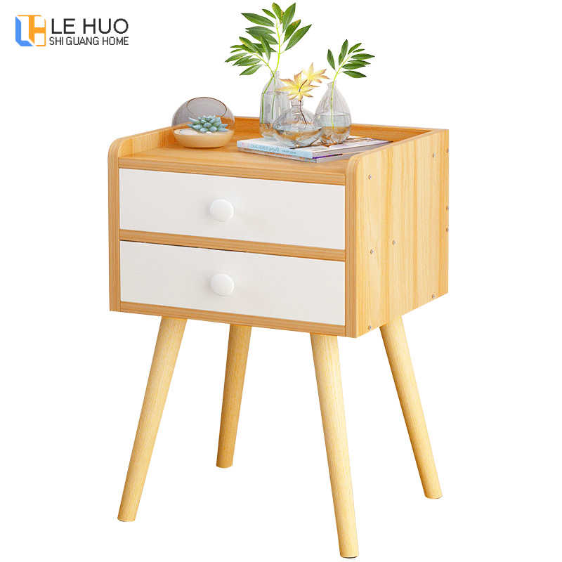 High foot Nightstand Wooden Bedside table With drawer organizer Storage cabinet fashion Mini desk bedroom Furniture