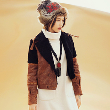 original winter folk style stitchingvelvet jacket warm female MZ06082