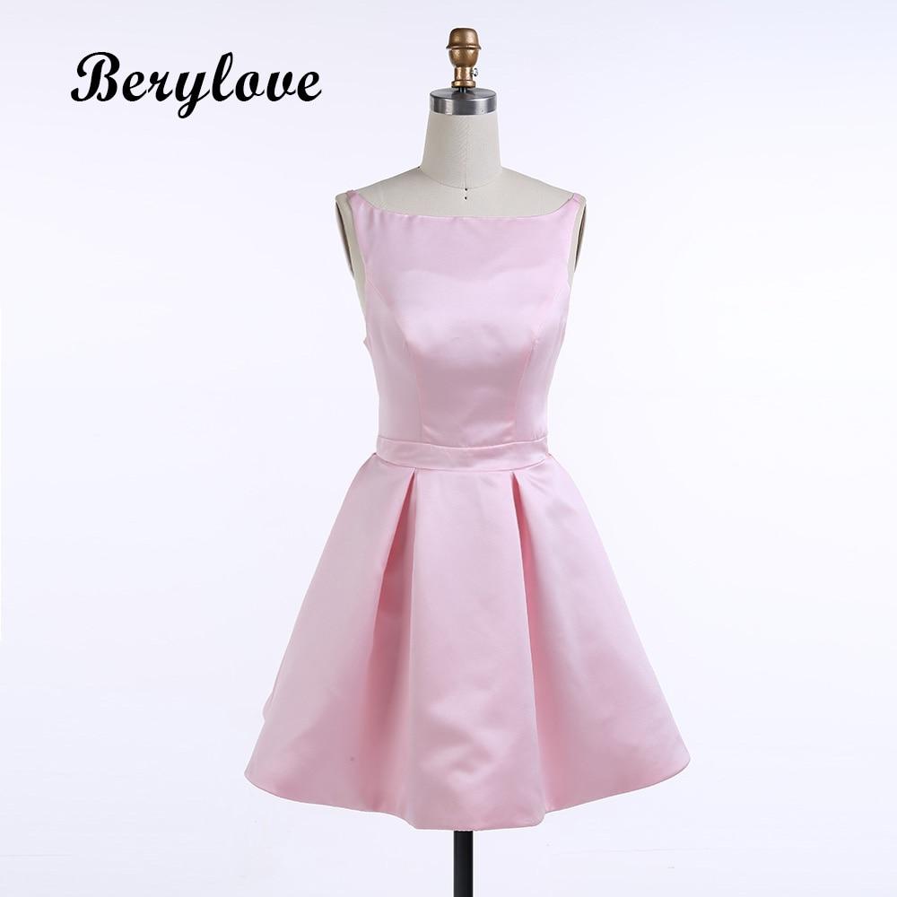 BeryLove Short Pink Cocktail Dresses 2018 Simple Satin Open Back ...