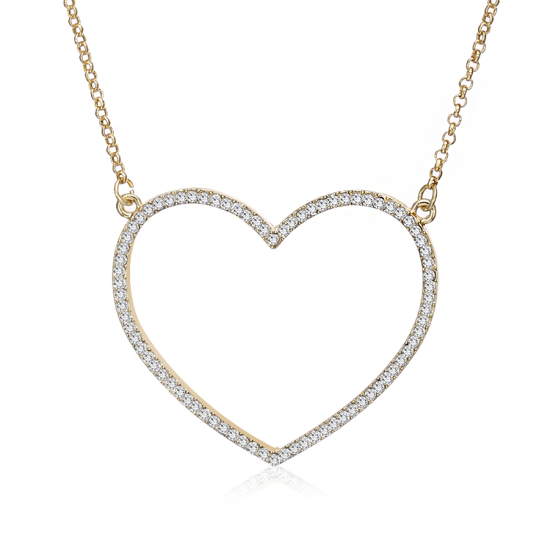 Big Heart Pendant Necklace Women Jewelry Birthday Party Gift Crystal Silver Gold Color Chain Long Necklaces & Pendants XL05840