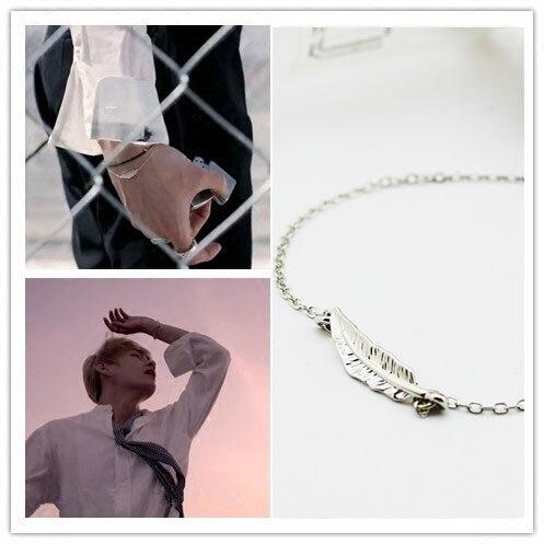Fashion Korea POP Feather Bracelet For Korean Famous Kpop Bracelet DNA V MV Same Style Leaf Bracelet Bangle Leaf Jewelry Gifts(China)