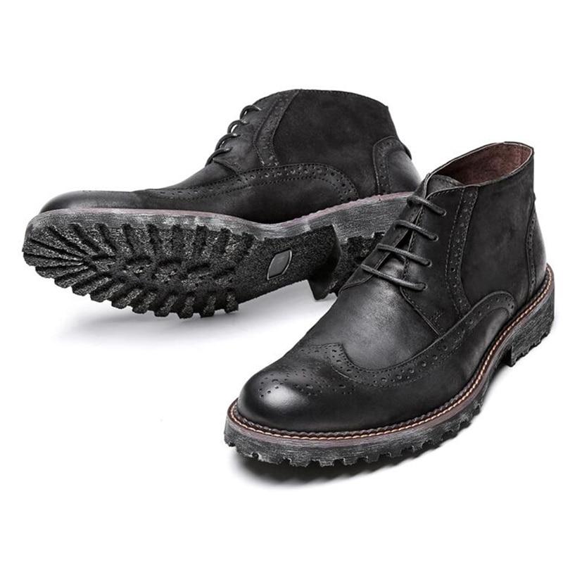 Nos tamaño 6 10 dos Tono de encaje de cuero genuino Formal vestido calado Oxford para hombre Casual punta de ala Oxford botas Martin botas-in Botas básicas from zapatos    3