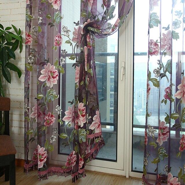 סגול שחיקה אדמונית פרח Sheer וילונות לסלון טול חלון מסך פסטורלי חוט בד חדר שינה מטבח מותאם אישית