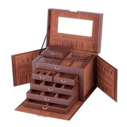 Cajas grandes de joyería marrón para chicas, collar, anillos, organizador de almacenamiento, pendientes, contenedor de espejo, expositor para mujeres, Estuche De Viaje de bloqueo