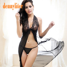 DENNYLITER 2017 Sexy Lingerie Women Lace Transparent Dress Exotic Apparel Female Temptation Pajamas Sexy Night Dress + G-string