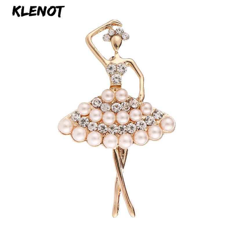 Elegant Ballet Girl Fairy ไข่มุกเข็มกลัดผู้หญิงบัลเล่ต์สาวเต้นรำ Rhinestone คริสตัล Ballerina เข็มกลัด Pin เจ้าสาวเครื่องประดับ