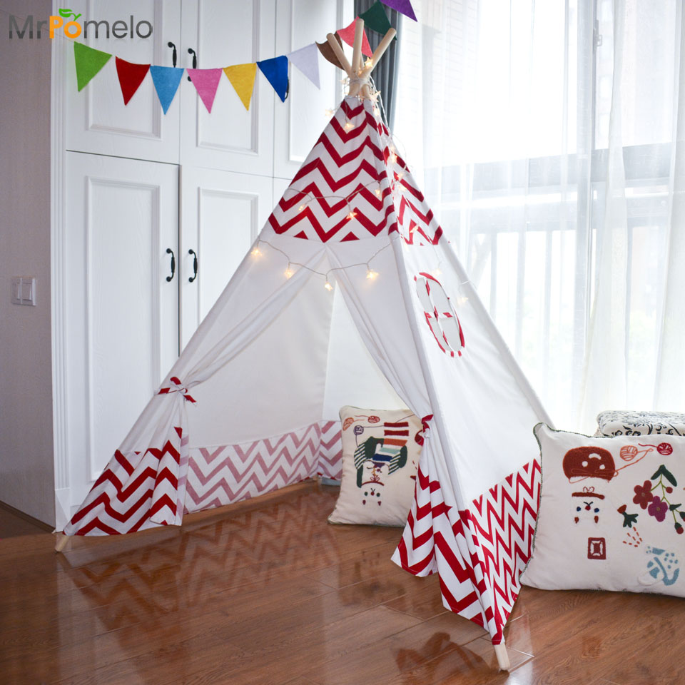 MrPomelo Baby Play Tent Garden Game Indoor Indian Play House with Window Kid Outdoor Game Room Children Toy Tent Red Wave zewik kid tent superbig space play tent 3 4 children game two door house basketball shot sums open roof for indoor and outdoor