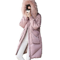 Large Real Fur Collar High Quality Down Cotton Hooded Casual Parka Warm Winter Jacket Leisure Overcoat