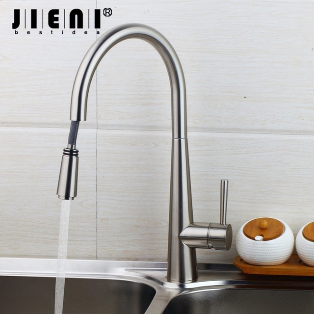 NEW Pull Out Brushed Nickel 360 Swivel  Kitchen Faucet Roated Basin Sink Mixer Tap Swivel Spout