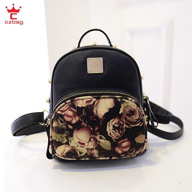 785adf6b8ec8 New Women Backpack PU Leather Mini Flower Butterfly Printing Backpacks  Korean School Bag For Girl 3 Colors 26 13 27 CM AA720B4