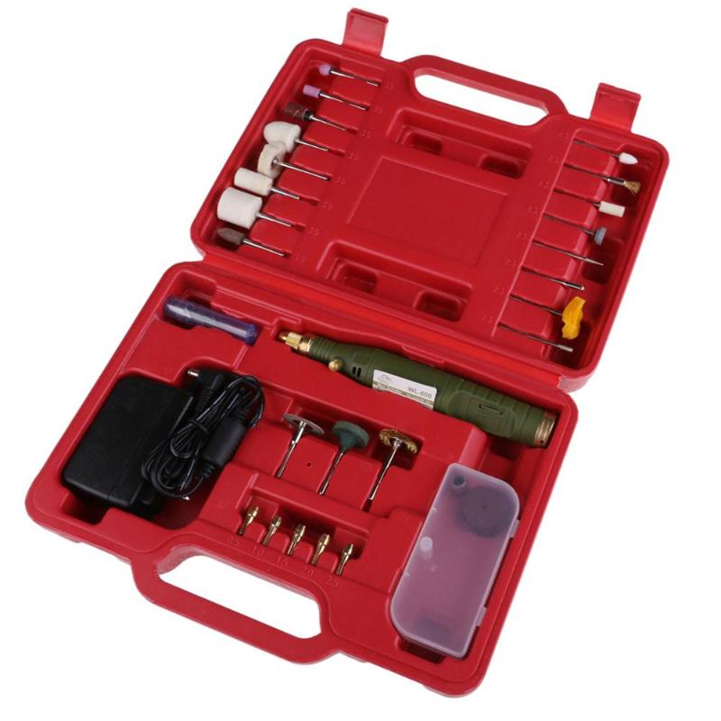цена на Mini Electric Drill Mini Grinder Kit Micro-Drill Electric Grinder Set Engraving Machine Polishing Drilling Grinding with Red Box