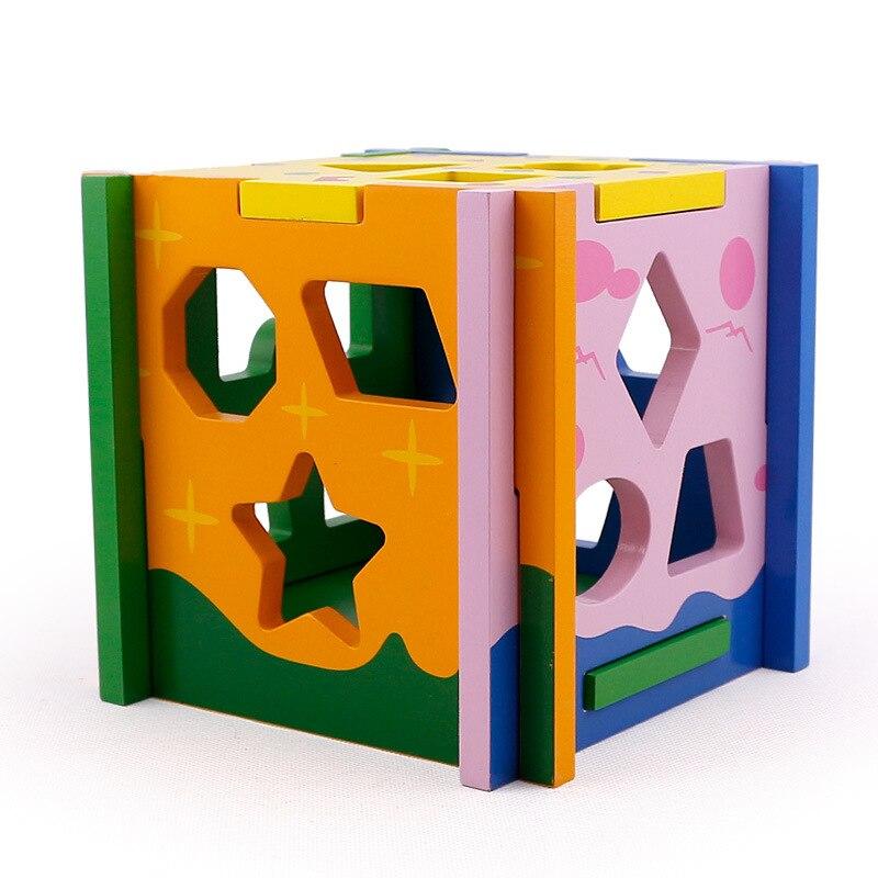 Jouets pour enfants enfant en bois jouet Cube forme géométrique apprendre bébé enfant en bas âge jeu éducatif préscolaire jouet reconnaissance Match Puzzle - 3