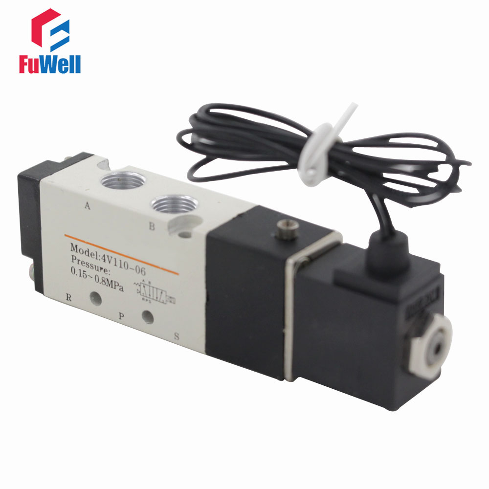4V110-06 DC24V Air Valve PT 1/8 Solenoid Control Valve Smart Pneumatic Valve 5 Port 2 Position Solenoid Valve for Air Systems pc400 5 pc400lc 5 pc300lc 5 pc300 5 excavator hydraulic pump solenoid valve 708 23 18272 for komatsu