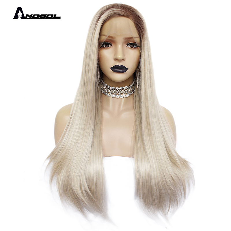 ANOGOL Big Lace Free Parting Heat Resistant Fiber Brown Roots Ombre Blonde Natural Long Silky Straight Synthetic Lace Front Wigs