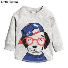 Peu maven enfants marque bébé fille vêtements 2017 automne nouvelle filles coton à manches longues O-cou chien imprimer t shirt C0062