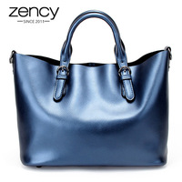 Zency Brand Fashion Luxury Handbags Women Large Capacity Casual Bag Ladies Genuine Leather Shoulder Tote Bags