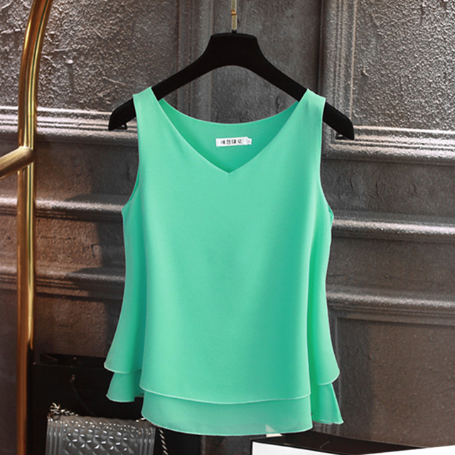 Sleeveless Chiffon Shirt Solid  V-neck Casual Blouse 4