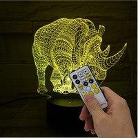 Rhino Usb Led Kids Desk Lamp Acrylic Usb Christmas Gift 3d Light Fixtures Novelty 7 Color