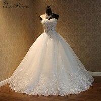 C.V Mode de luxe perles robe de mariée 2018 robe de noiva dentelle marié plus la taille mariée robes de mariée casamento WX0093