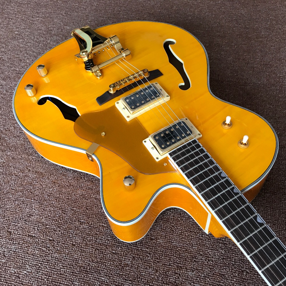 newest jazz electric guitar yellow color hollow body guitarra with cold color hardware high. Black Bedroom Furniture Sets. Home Design Ideas