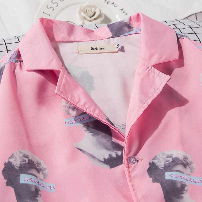 Giro-abajo Collar de impreso completo Rosa camisa de los hombres de verano de 2018 Hawaii estilo hombres camisas de manga corta