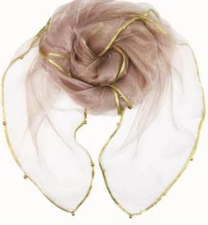 Женский летний Одноцветный полосатый шарф из органзы, украшенный бисером, женский весенний золотой ободок, длинный бисер, тонкая мягкая шаль - Цвет: 10
