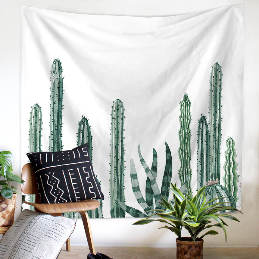 Wall Decor Wall Tapestry Cactus Watercolor Succulents Plant Greens Large Wall Hanging Wall Art 150x130cm/200x150cm