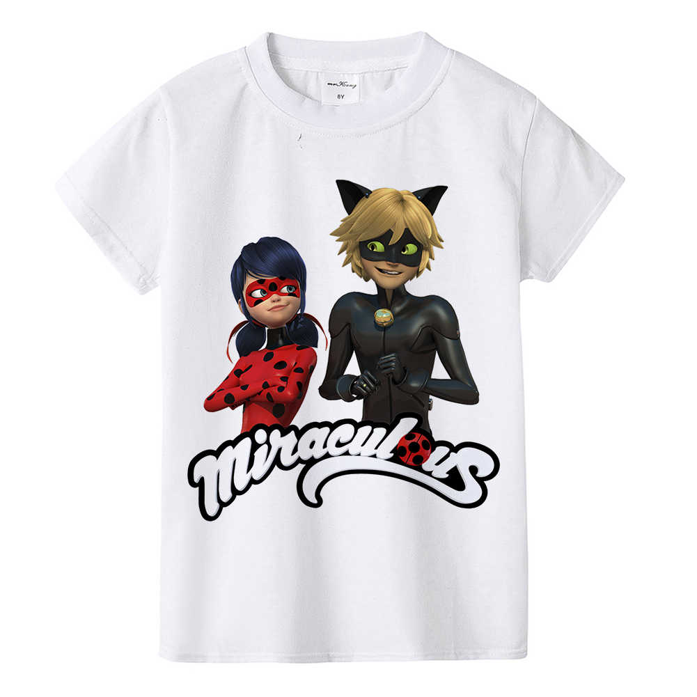 ... 1-12Y baby toddler teens tops tees Miraculous Ladybug children girl  summer t shirt Cat ... c02395fb5745