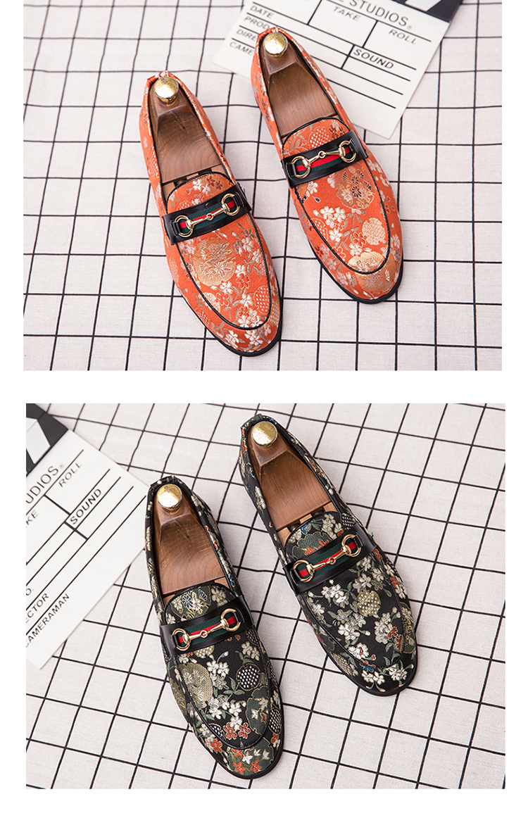 2019 New Brand Formal Shoes Men Leather Shoes Flower Embroidery Slip On Lazy Driving Shoe Office Loafers Mens Canvas Shoes 12