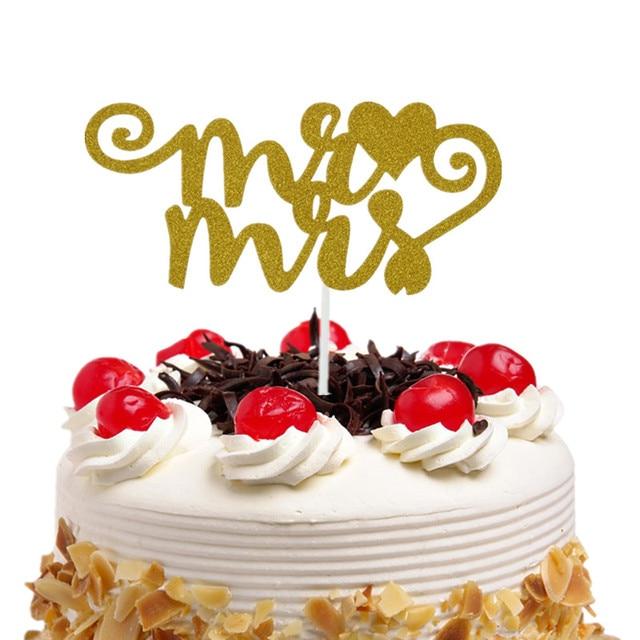 mr mrs cake topper cupcakes flags bridal shower glitter shiny paper bachelorette hawaiian wedding birthday festival
