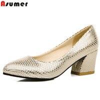 ASUMER Plus Size 34-45 venda quente 2016 novo de alta qualidade simples mulheres bombas de saltos quadrados sapatos de casamento festa de mulher ouro e prata