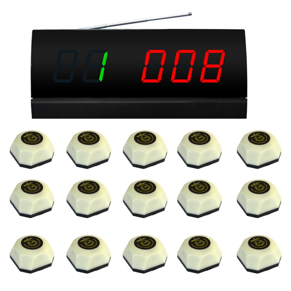 SINGCALL. wireless service calling systems,table pager system. 15 single button white bells and 1 monitor wireless pager service calling system for restaurant salon beauty table 40pcs electronic table bells