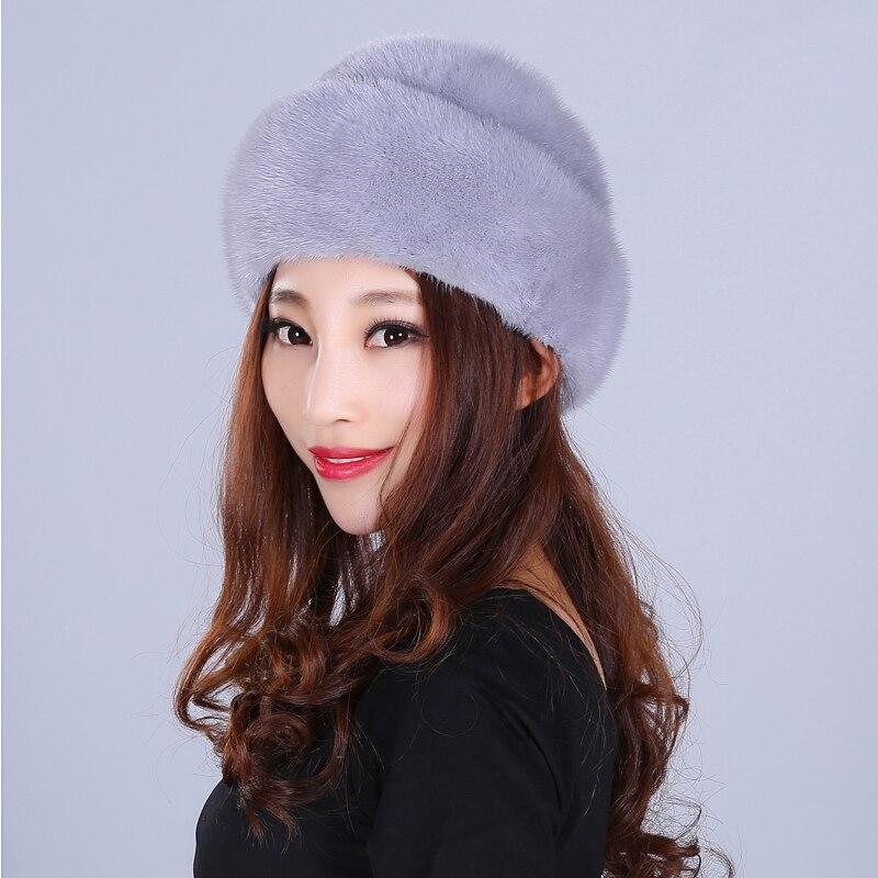 Mode fourrure chapeau pour femmes solide réel vison fourrure Style décontracté fourrure belle nouvelles casquettes bonnets femme hiver chapeaux russe bonnets - 2
