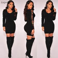Bodycon Pencil dresses for women Slim Women Bandage Dress Tie Up Sleeve Party Pencil Dress beautiful women dress drop shipping tie sleeve button front pencil dress