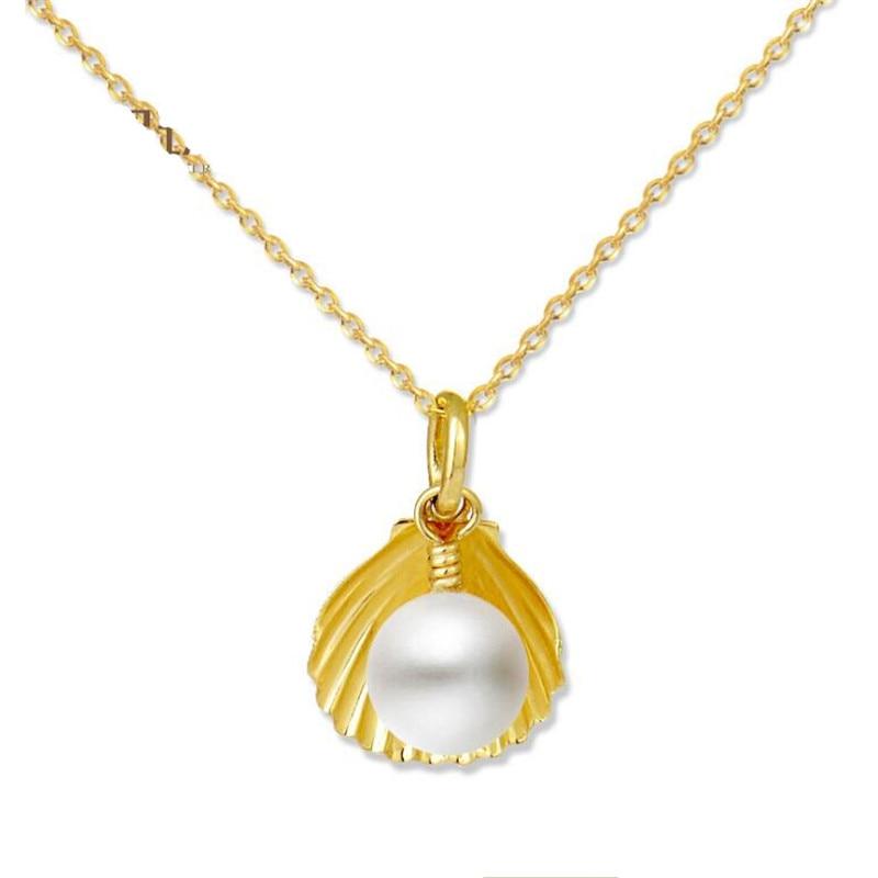 5.5-6 MM perles d'eau douce colliers bijoux pour femmes 18 K or forme de coquille pendentif avec lien chaîne collier de haute qualité 2018